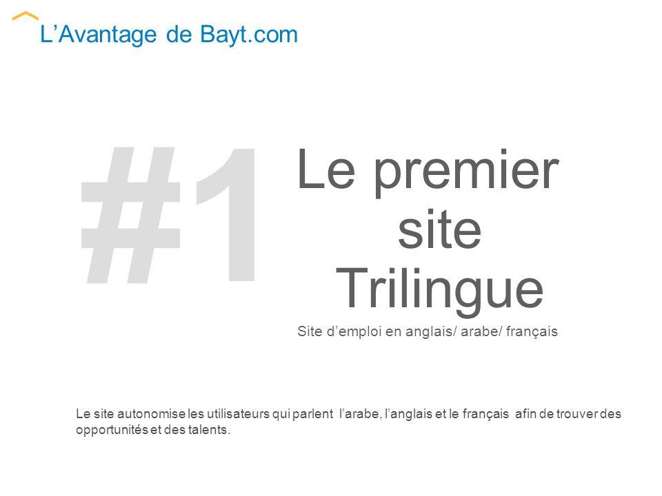 LAvantage de Bayt.com Le site autonomise les utilisateurs qui parlent larabe, langlais et le français afin de trouver des opportunités et des talents.