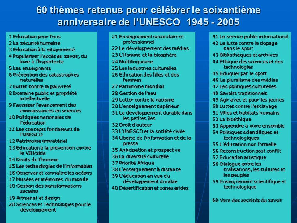 60 thèmes retenus pour célébrer le soixantième anniversaire de lUNESCO 1945 - 2005 1 Education pour Tous 2 La sécurité humaine 3 Education à la citoye