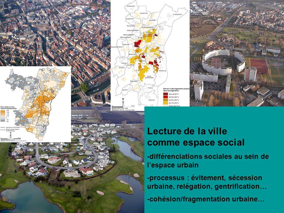 Lecture de la ville comme espace social -différenciations sociales au sein de lespace urbain -processus : évitement, sécession urbaine, relégation, ge