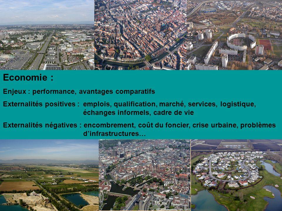 Economie : Enjeux : performance, avantages comparatifs Externalités positives : emplois, qualification, marché, services, logistique, échanges informe