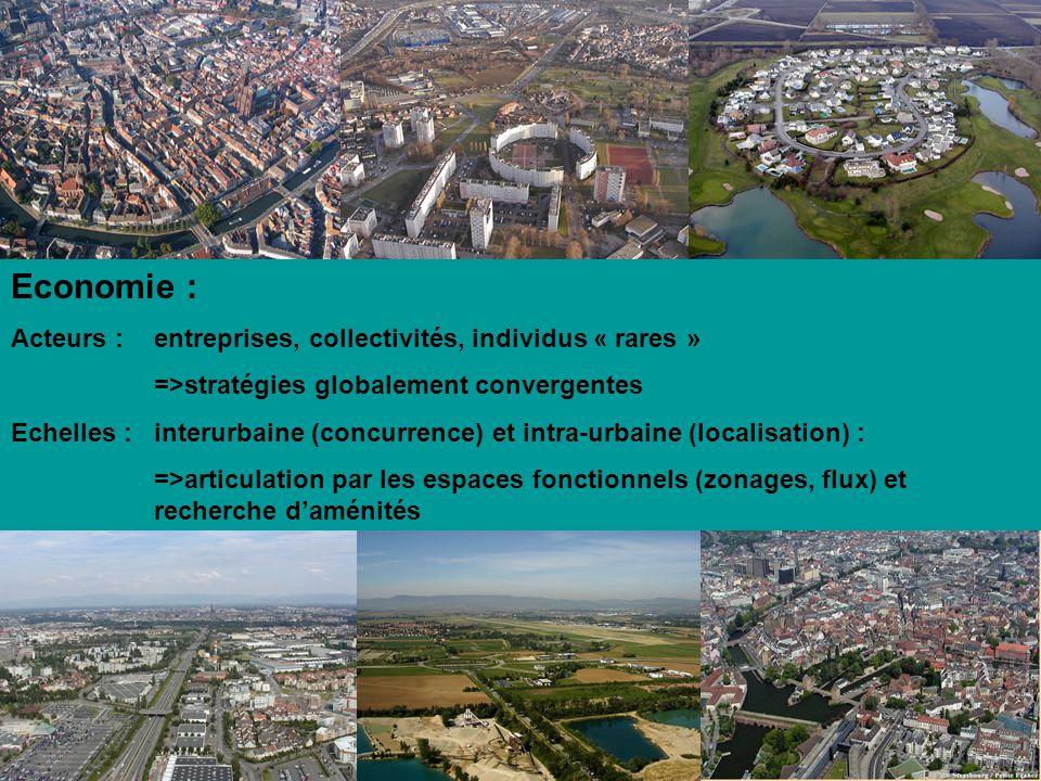 Economie : Acteurs : entreprises, collectivités, individus « rares » =>stratégies globalement convergentes Echelles : interurbaine (concurrence) et in