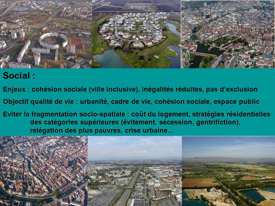 Social : Enjeux : cohésion sociale (ville inclusive), inégalités réduites, pas dexclusion Objectif qualité de vie : urbanité, cadre de vie, cohésion s