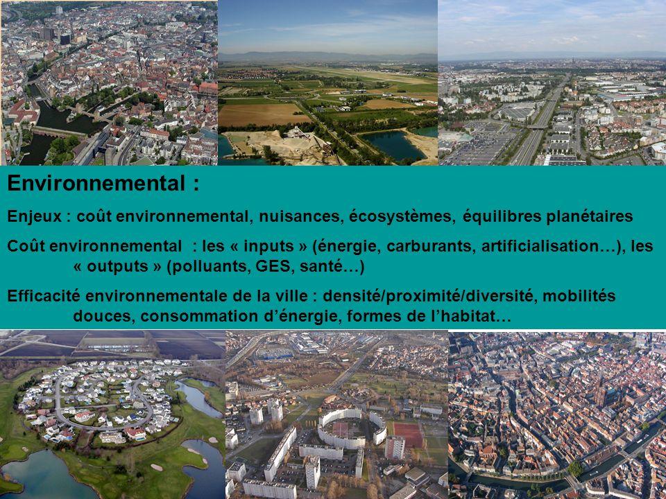 Environnemental : Enjeux : coût environnemental, nuisances, écosystèmes, équilibres planétaires Coût environnemental : les « inputs » (énergie, carbur