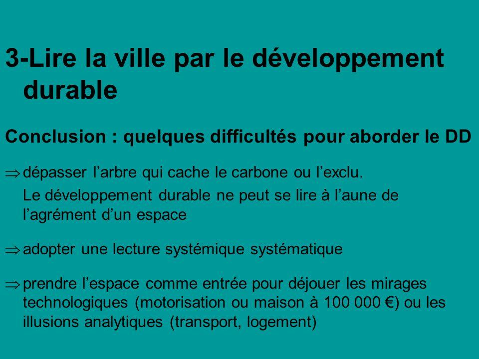 3-Lire la ville par le développement durable Conclusion : quelques difficultés pour aborder le DD dépasser larbre qui cache le carbone ou lexclu. Le d