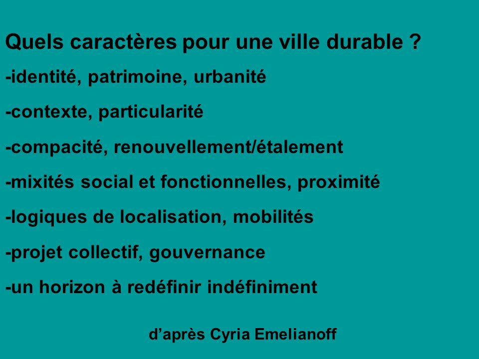Quels caractères pour une ville durable ? -identité, patrimoine, urbanité -contexte, particularité -compacité, renouvellement/étalement -mixités socia