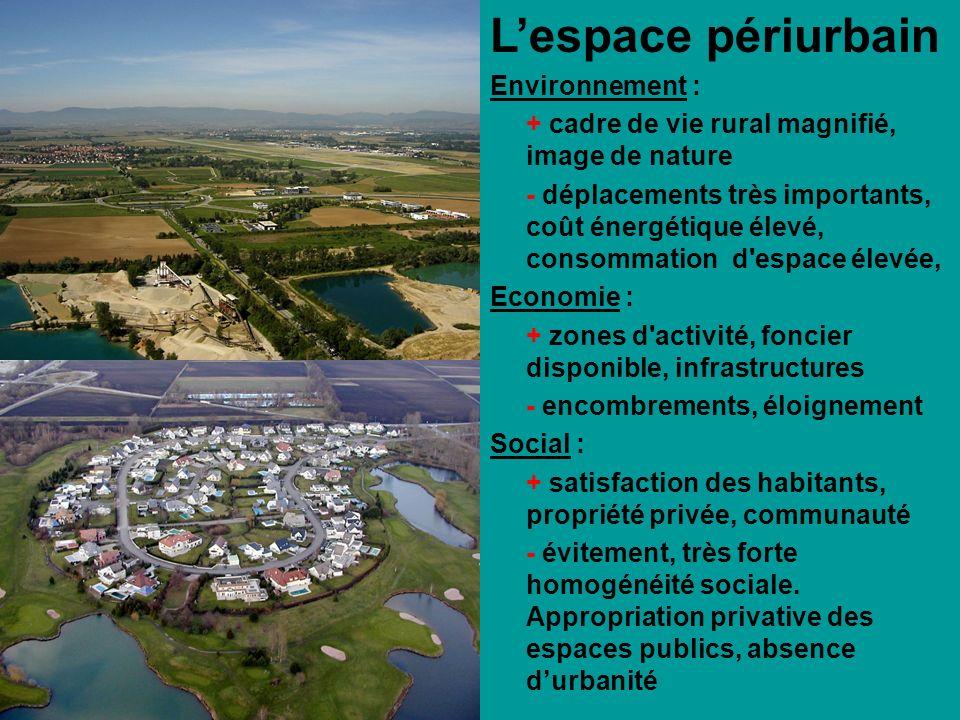 Lespace périurbain Environnement : + cadre de vie rural magnifié, image de nature - déplacements très importants, coût énergétique élevé, consommation