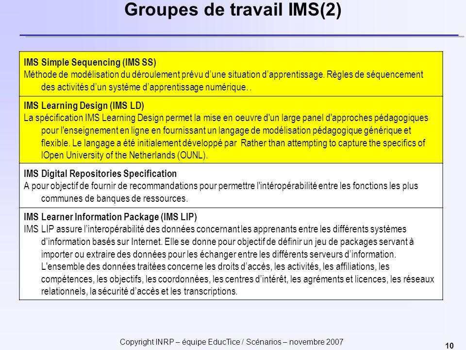 Copyright INRP – équipe EducTice / Scénarios – novembre 2007 10 Groupes de travail IMS(2) IMS Simple Sequencing (IMS SS) Méthode de modélisation du dé