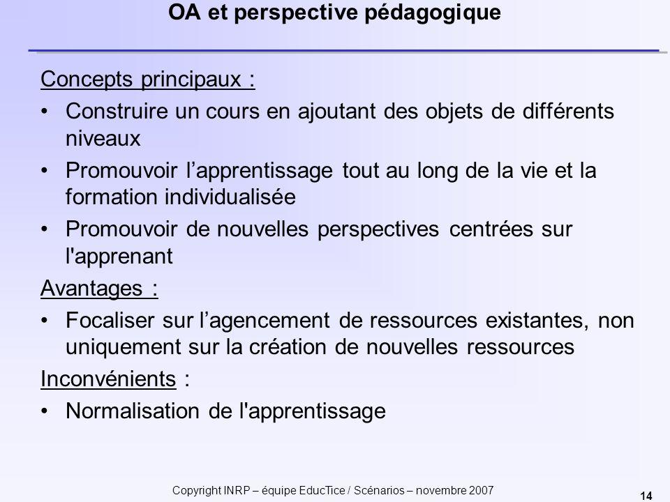 Copyright INRP – équipe EducTice / Scénarios – novembre 2007 14 OA et perspective pédagogique Concepts principaux : Construire un cours en ajoutant de