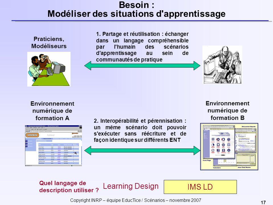 Copyright INRP – équipe EducTice / Scénarios – novembre 2007 17 Besoin : Modéliser des situations d apprentissage Environnement numérique de formation A 2.