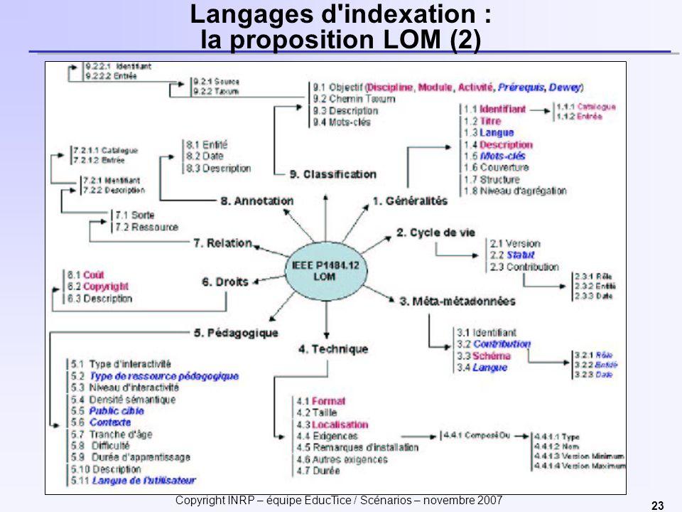 Copyright INRP – équipe EducTice / Scénarios – novembre 2007 23 Langages d indexation : la proposition LOM (2)