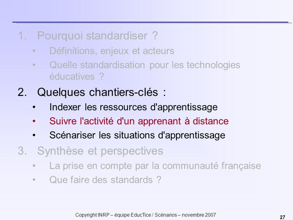 Copyright INRP – équipe EducTice / Scénarios – novembre 2007 27 1.Pourquoi standardiser ? Définitions, enjeux et acteurs Quelle standardisation pour l