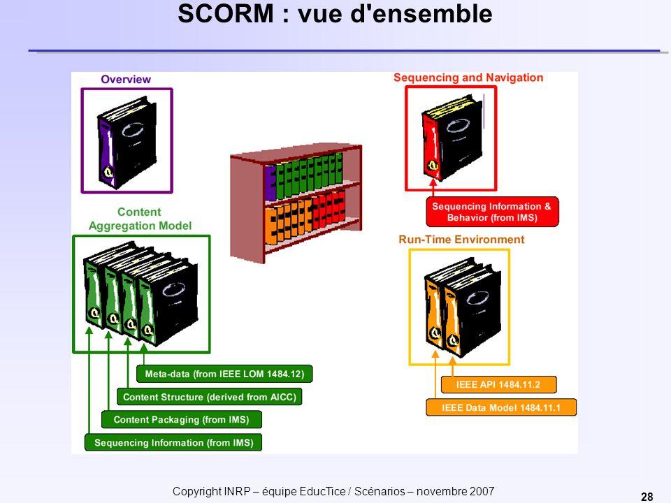 Copyright INRP – équipe EducTice / Scénarios – novembre 2007 28 SCORM : vue d ensemble