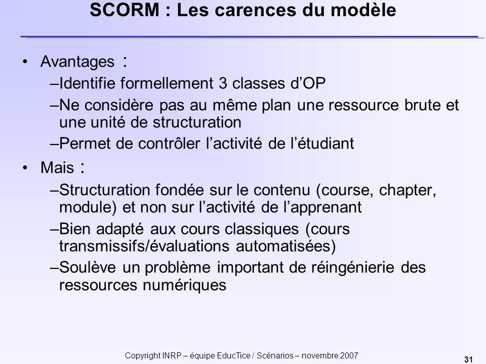 Copyright INRP – équipe EducTice / Scénarios – novembre 2007 31 SCORM : Les carences du modèle Avantages : –Identifie formellement 3 classes dOP –Ne c