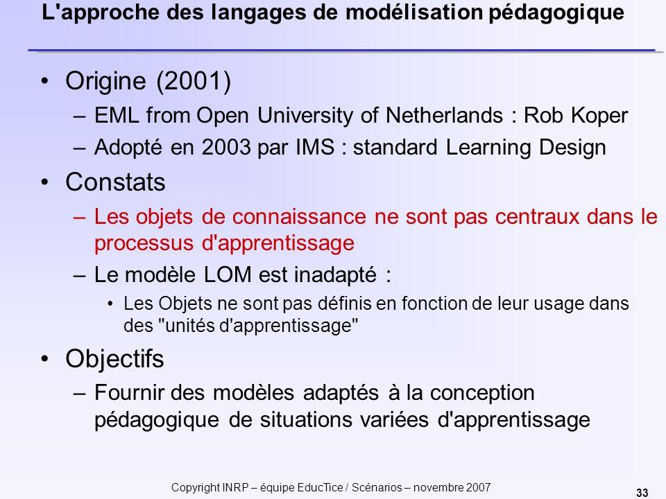 Copyright INRP – équipe EducTice / Scénarios – novembre 2007 33 L'approche des langages de modélisation pédagogique Origine (2001) –EML from Open Univ