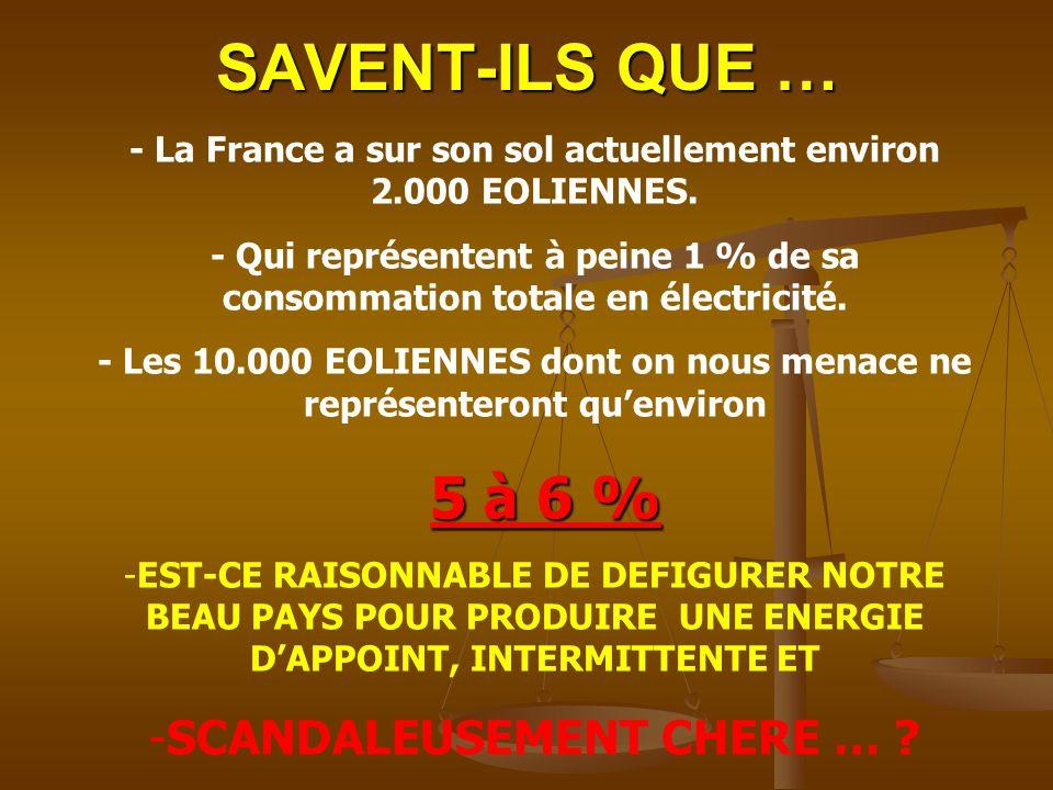 SAVENT-ILS QUE … - La France a sur son sol actuellement environ 2.000 EOLIENNES.