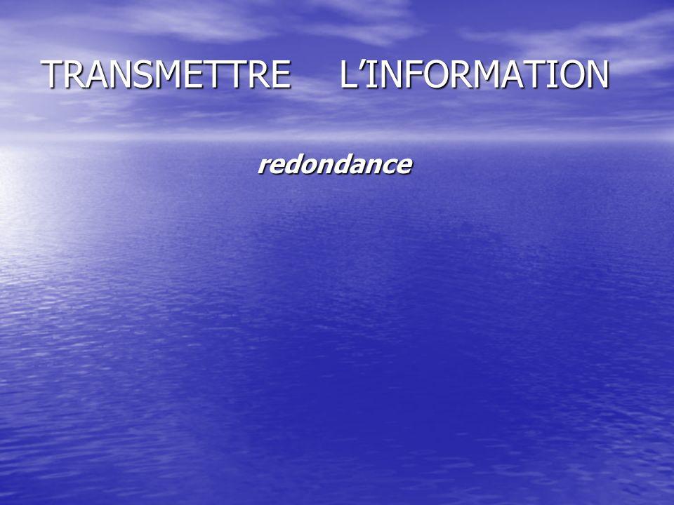 TRANSMETTRE LINFORMATION redondance redondance