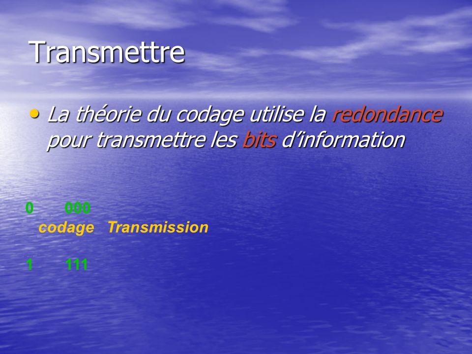Transmettre La théorie du codage utilise la redondance pour transmettre les bits dinformation La théorie du codage utilise la redondance pour transmet