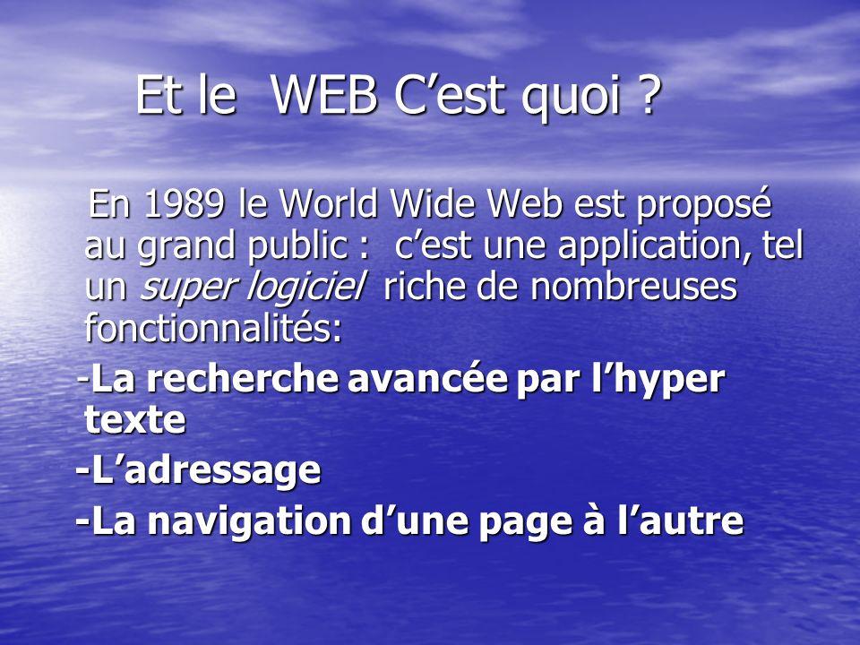 Et le WEB Cest quoi ? Et le WEB Cest quoi ? En 1989 le World Wide Web est proposé au grand public : cest une application, tel un super logiciel riche