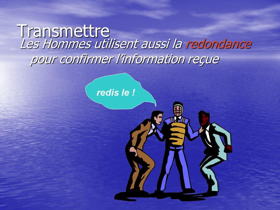 Transmettre Les Hommes utilisent aussi la redondance pour confirmer linformation reçue redis le !