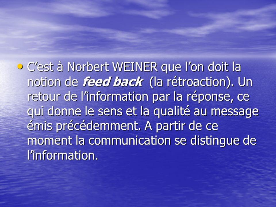 Cest à Norbert WEINER que lon doit la notion de feed back (la rétroaction). Un retour de linformation par la réponse, ce qui donne le sens et la quali