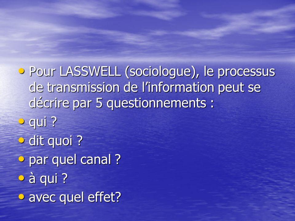 Pour LASSWELL (sociologue), le processus de transmission de linformation peut se décrire par 5 questionnements : Pour LASSWELL (sociologue), le proces