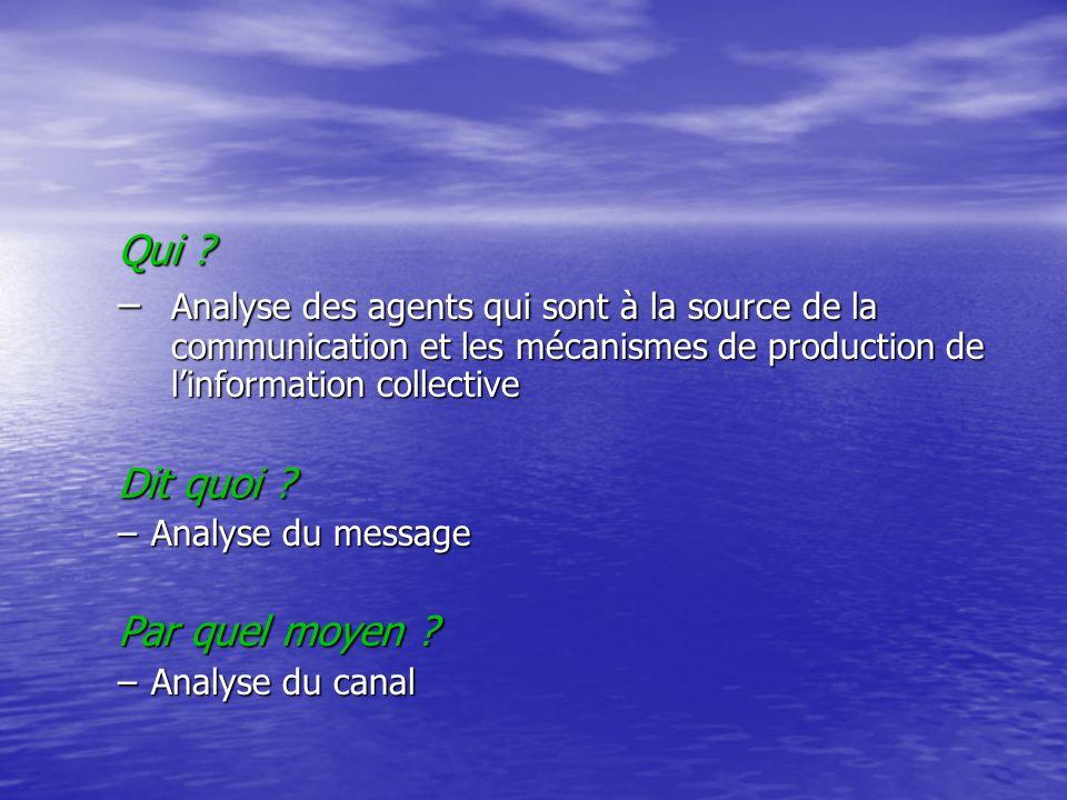 Qui ? – Analyse des agents qui sont à la source de la communication et les mécanismes de production de linformation collective Dit quoi ? –Analyse du