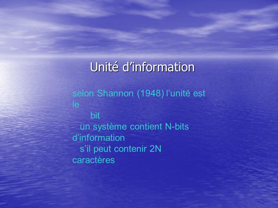 Unité dinformation Unité dinformation selon Shannon (1948) lunité est le bit un système contient N-bits dinformation sil peut contenir 2N caractères