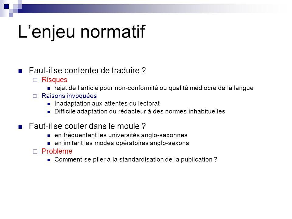 Lenjeu normatif Faut-il se contenter de traduire ? Risques rejet de larticle pour non-conformité ou qualité médiocre de la langue Raisons invoquées In