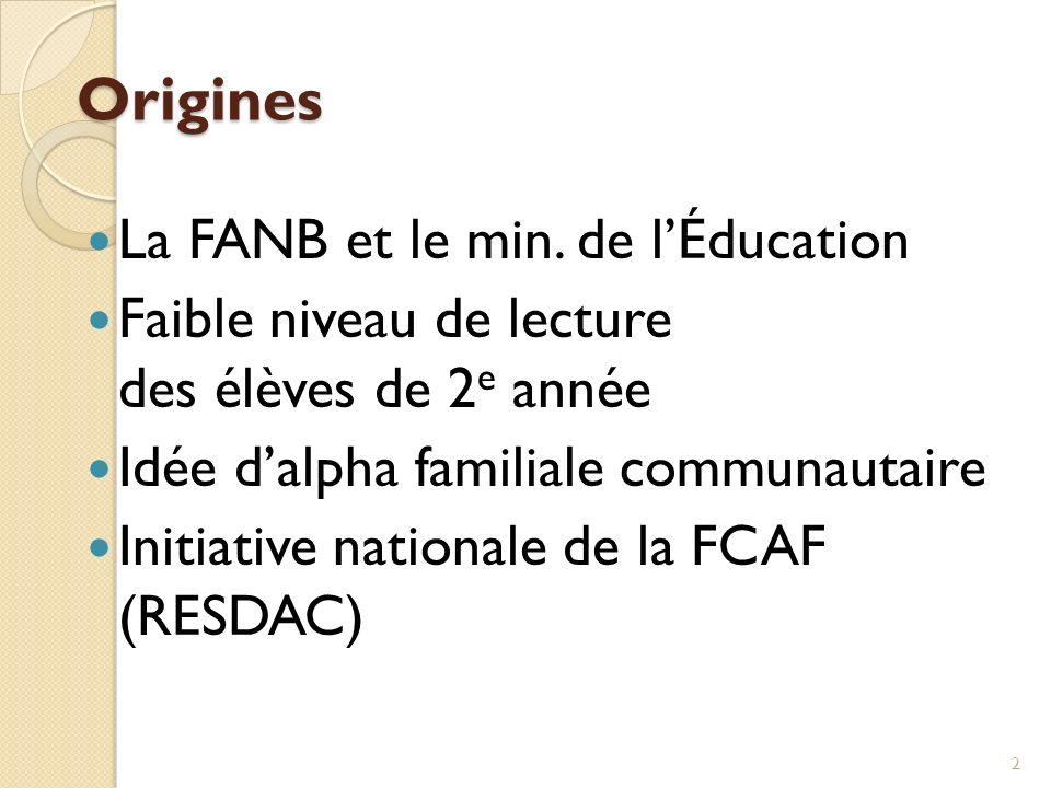 Origines La FANB et le min. de lÉducation Faible niveau de lecture des élèves de 2 e année Idée dalpha familiale communautaire Initiative nationale de
