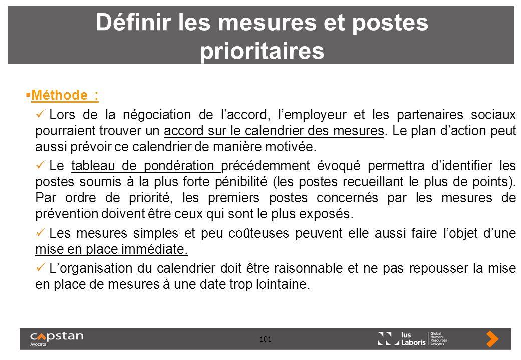 101 Définir les mesures et postes prioritaires Méthode : Lors de la négociation de laccord, lemployeur et les partenaires sociaux pourraient trouver u
