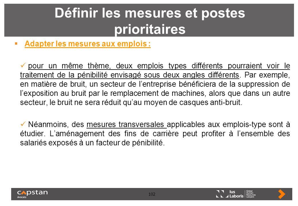 102 Définir les mesures et postes prioritaires Adapter les mesures aux emplois : pour un même thème, deux emplois types différents pourraient voir le