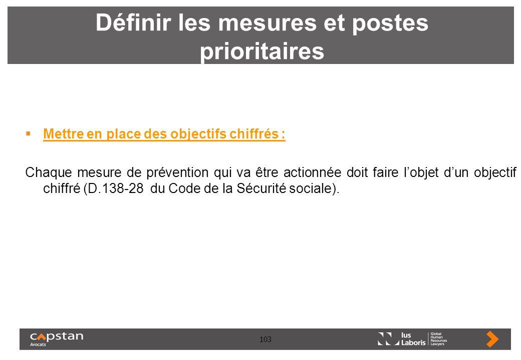 103 Définir les mesures et postes prioritaires Mettre en place des objectifs chiffrés : Chaque mesure de prévention qui va être actionnée doit faire l
