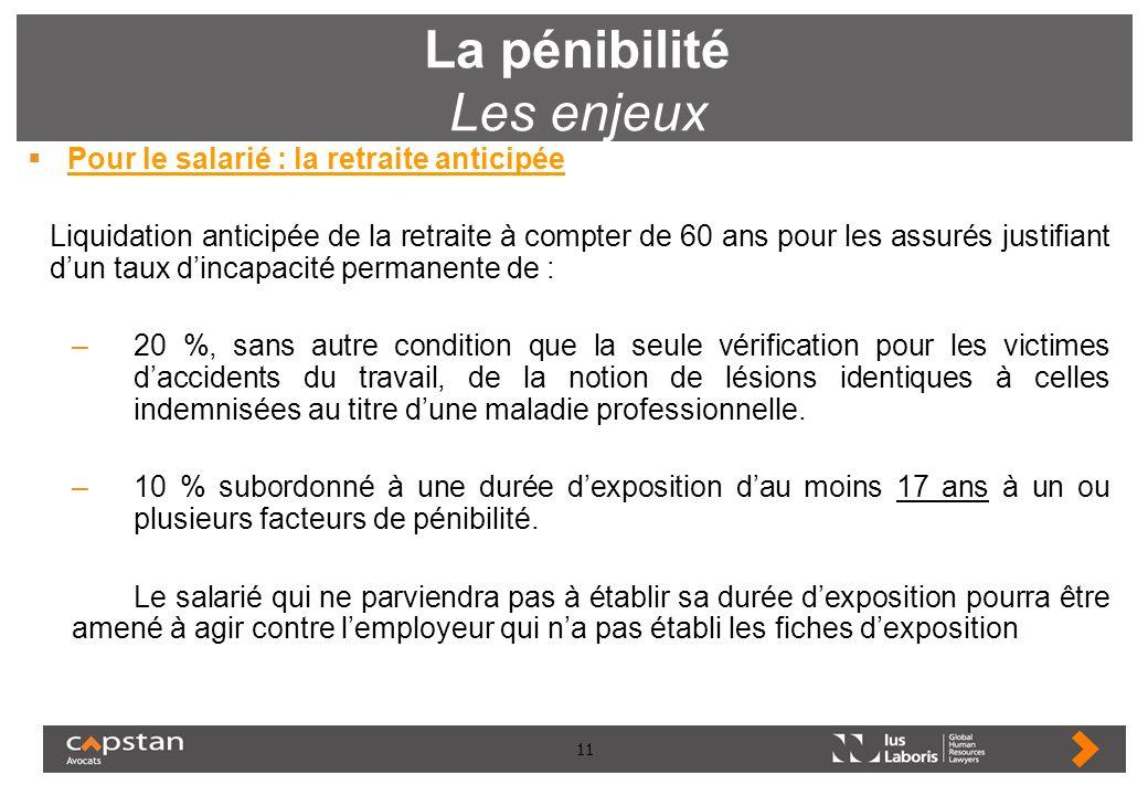 11 La pénibilité Les enjeux Pour le salarié : la retraite anticipée Liquidation anticipée de la retraite à compter de 60 ans pour les assurés justifia