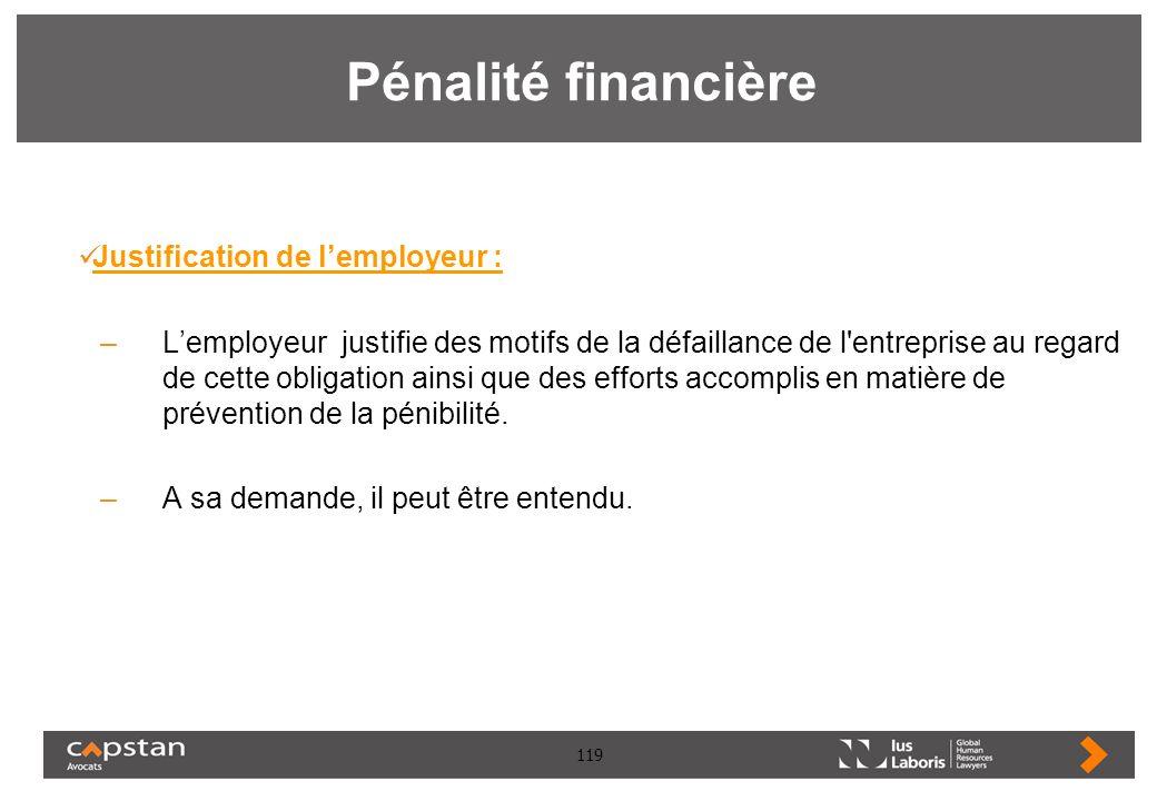 119 Pénalité financière Justification de lemployeur : –Lemployeur justifie des motifs de la défaillance de l'entreprise au regard de cette obligation