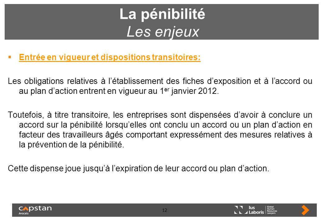 12 La pénibilité Les enjeux Entrée en vigueur et dispositions transitoires: Les obligations relatives à létablissement des fiches dexposition et à lac