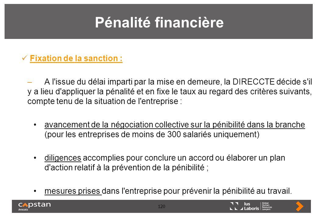 120 Pénalité financière Fixation de la sanction : –A l'issue du délai imparti par la mise en demeure, la DIRECCTE décide s'il y a lieu d'appliquer la