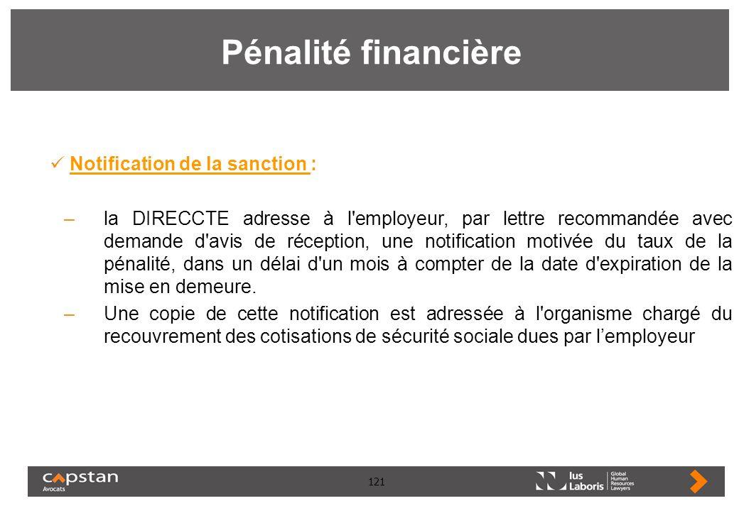 121 Pénalité financière Notification de la sanction : –la DIRECCTE adresse à l'employeur, par lettre recommandée avec demande d'avis de réception, une