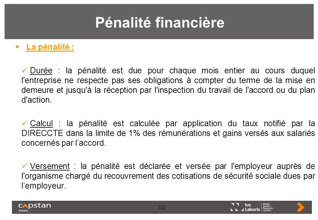 122 Pénalité financière La pénalité : Durée : la pénalité est due pour chaque mois entier au cours duquel l'entreprise ne respecte pas ses obligations