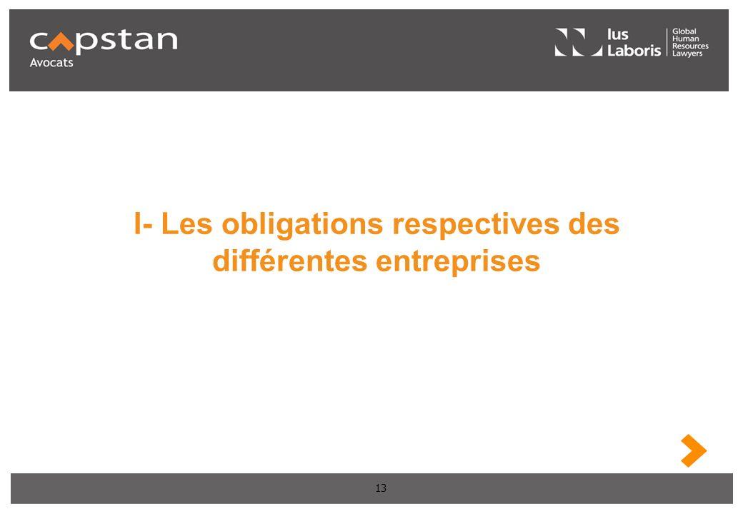 13 I- Les obligations respectives des différentes entreprises