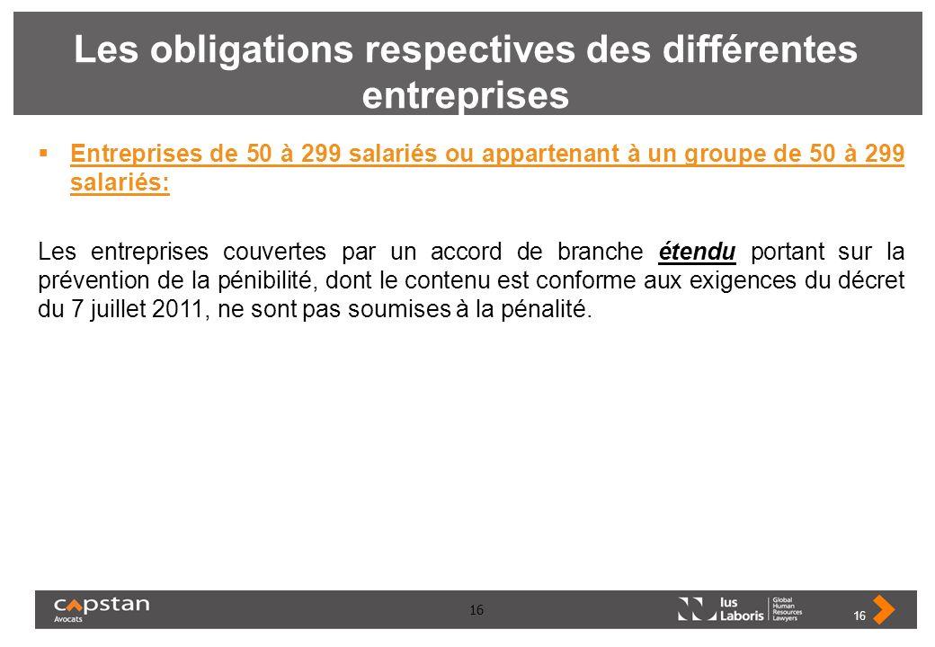 16 Les obligations respectives des différentes entreprises Entreprises de 50 à 299 salariés ou appartenant à un groupe de 50 à 299 salariés: Les entre
