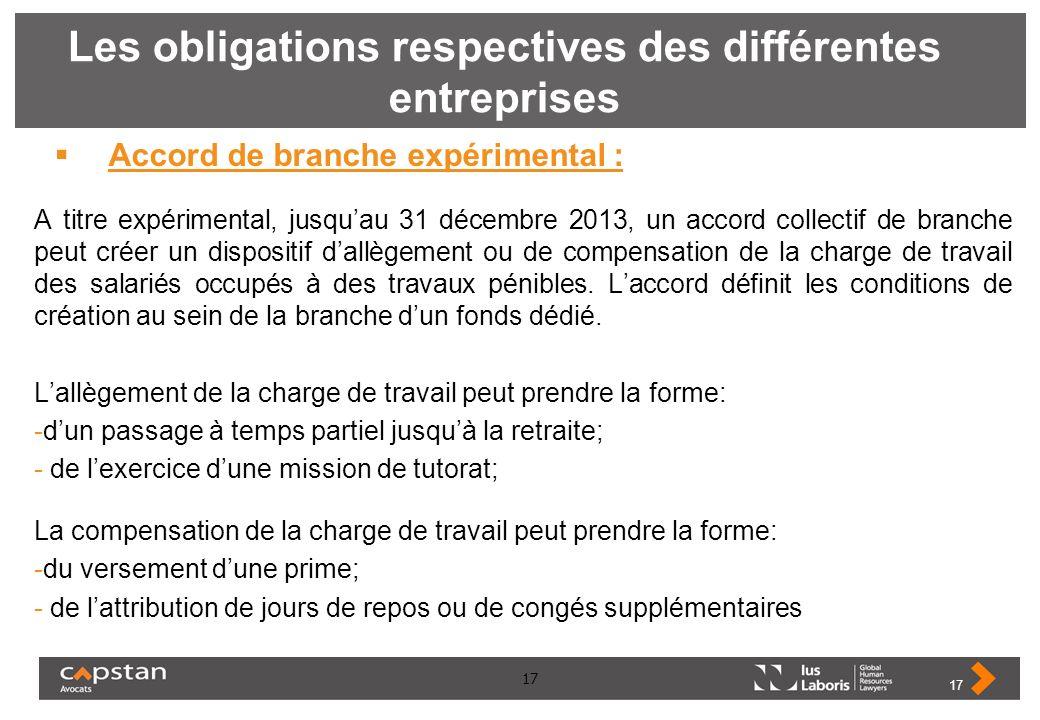 17 Les obligations respectives des différentes entreprises Accord de branche expérimental : A titre expérimental, jusquau 31 décembre 2013, un accord