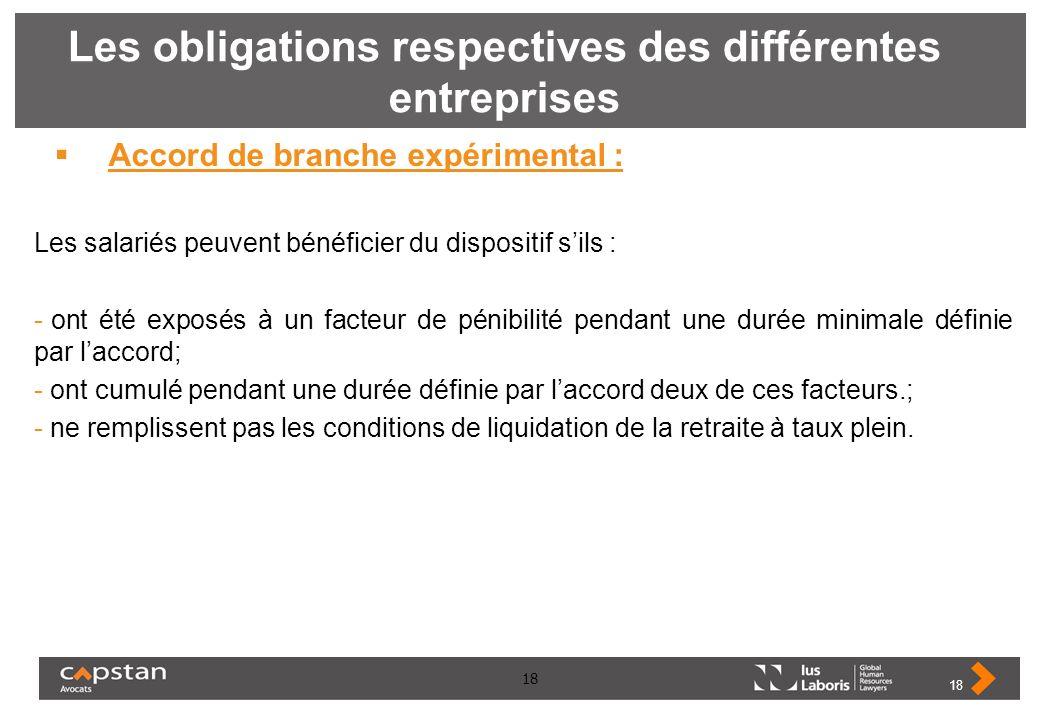 18 Les obligations respectives des différentes entreprises Accord de branche expérimental : Les salariés peuvent bénéficier du dispositif sils : - ont