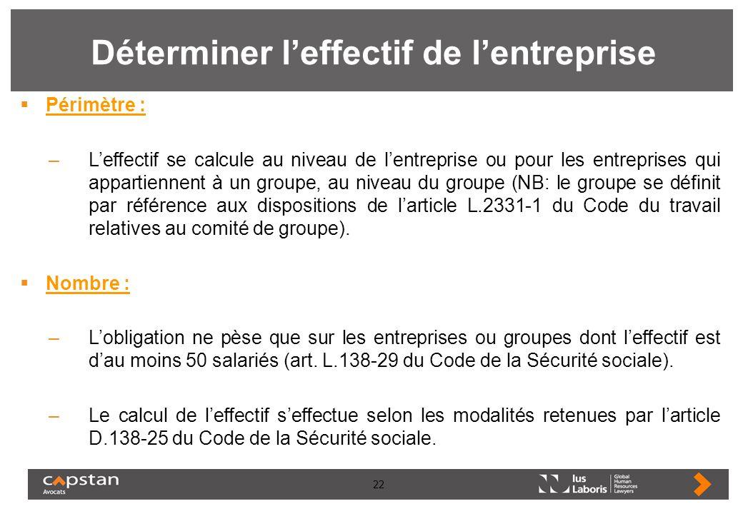 22 Déterminer leffectif de lentreprise Périmètre : –Leffectif se calcule au niveau de lentreprise ou pour les entreprises qui appartiennent à un group