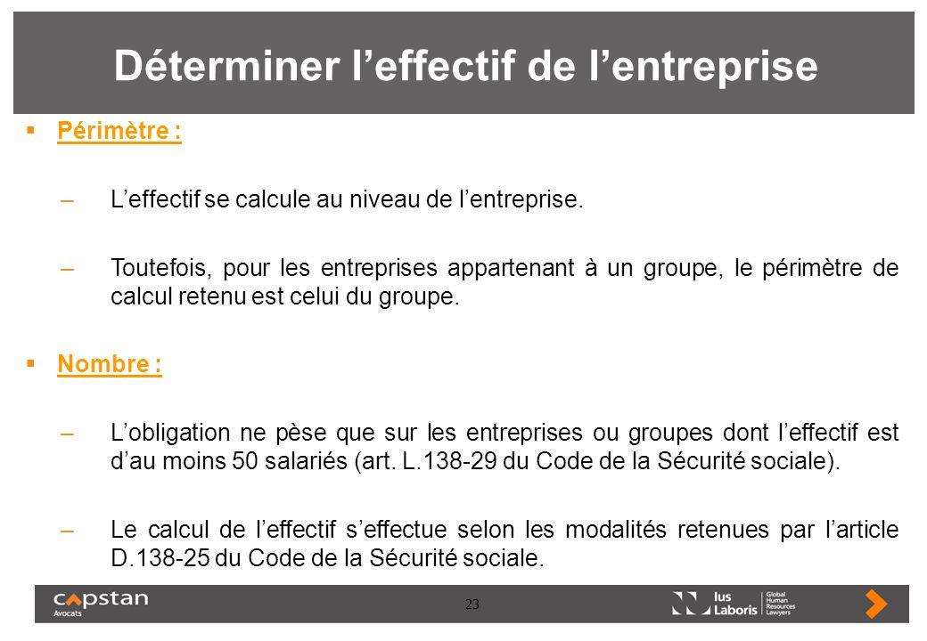 23 Déterminer leffectif de lentreprise Périmètre : –Leffectif se calcule au niveau de lentreprise. –Toutefois, pour les entreprises appartenant à un g