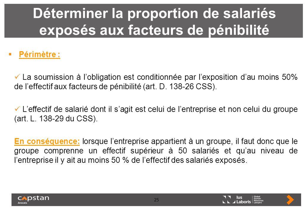 25 Déterminer la proportion de salariés exposés aux facteurs de pénibilité Périmètre : La soumission à lobligation est conditionnée par lexposition da