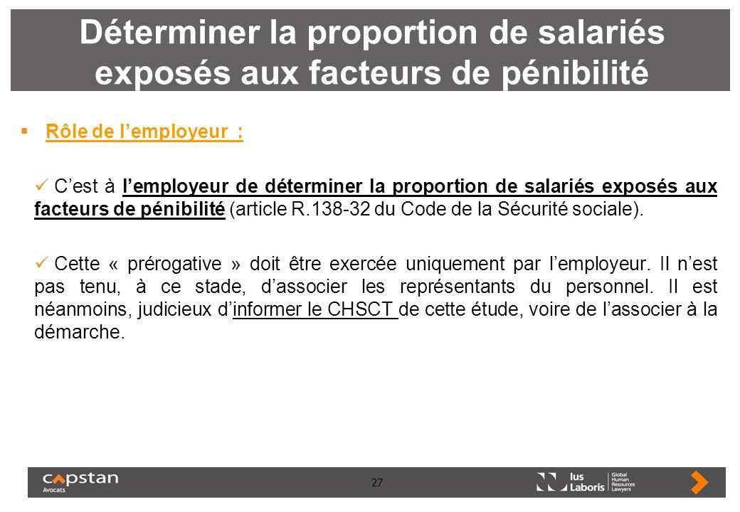 27 Déterminer la proportion de salariés exposés aux facteurs de pénibilité Rôle de lemployeur : Cest à lemployeur de déterminer la proportion de salar
