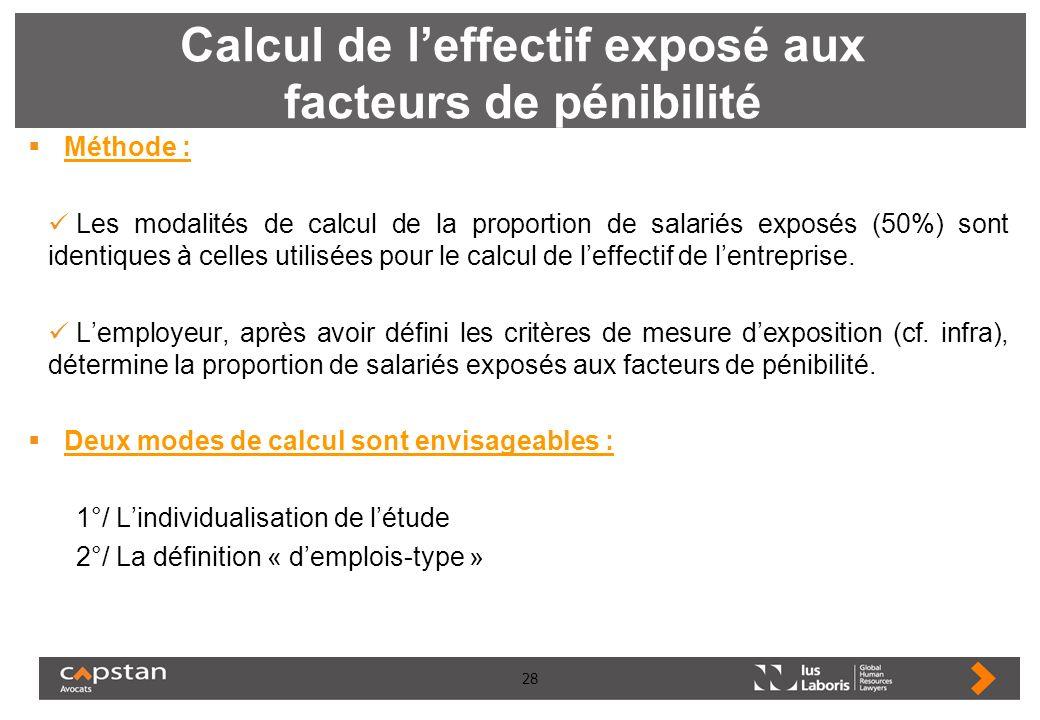 28 Calcul de leffectif exposé aux facteurs de pénibilité Méthode : Les modalités de calcul de la proportion de salariés exposés (50%) sont identiques