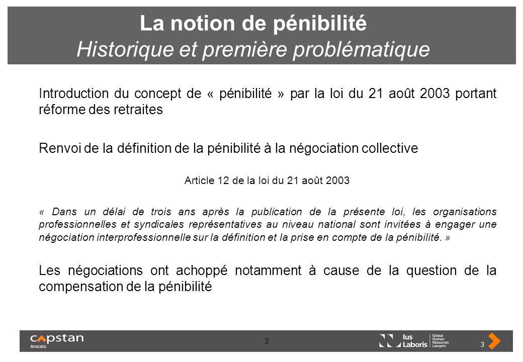 3 La notion de pénibilité Historique et première problématique Introduction du concept de « pénibilité » par la loi du 21 août 2003 portant réforme de