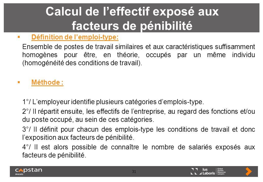 31 Calcul de leffectif exposé aux facteurs de pénibilité Définition de lemploi-type: Ensemble de postes de travail similaires et aux caractéristiques