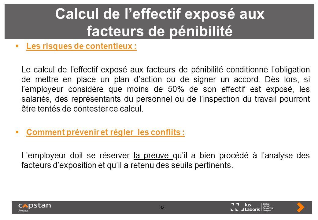 32 Calcul de leffectif exposé aux facteurs de pénibilité Les risques de contentieux : Le calcul de leffectif exposé aux facteurs de pénibilité conditi
